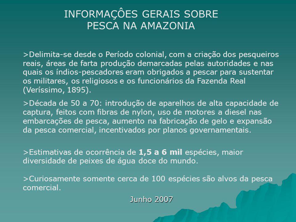 Junho 2007 INFORMAÇÔES GERAIS SOBRE PESCA NA AMAZONIA >Delimita-se desde o Período colonial, com a criação dos pesqueiros reais, áreas de farta produç