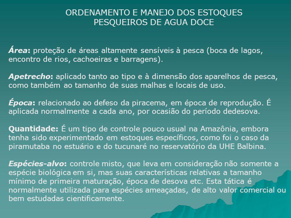 Tamanho da frota: Somente no caso da Piramutaba no estuário e de algumas experiências em reservatórios de hidrelétricas, é uma tática pouco utilizada no restante da Amazônia.