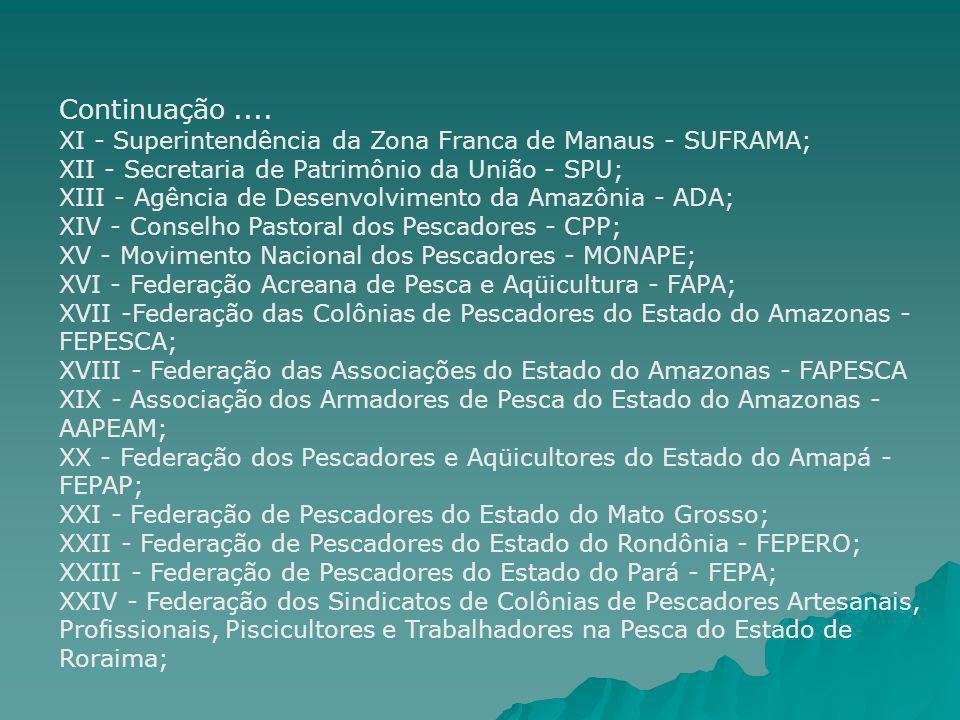 Continuação.... XI - Superintendência da Zona Franca de Manaus - SUFRAMA; XII - Secretaria de Patrimônio da União - SPU; XIII - Agência de Desenvolvim
