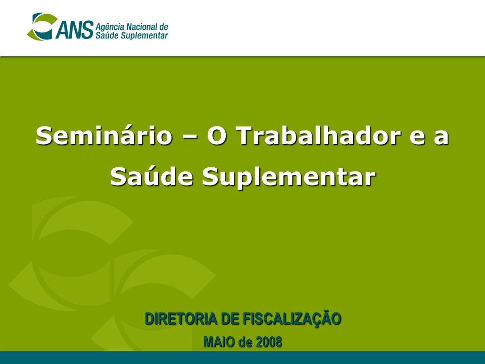 Seminário – O Trabalhador e a Saúde Suplementar DIRETORIA DE FISCALIZAÇÃO MAIO de 2008