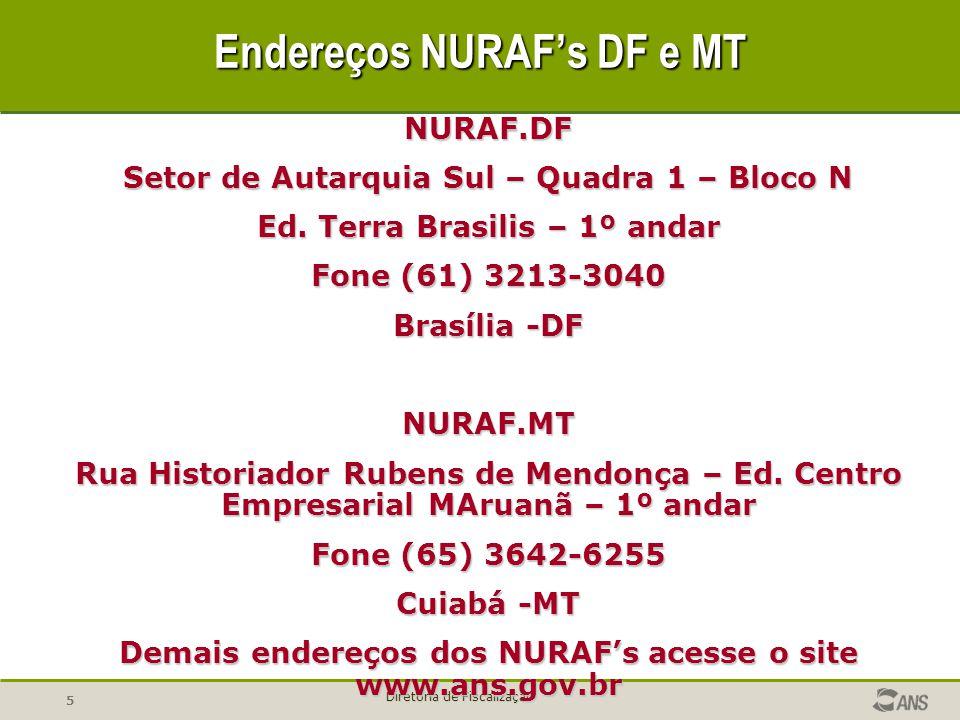 5 Diretoria de Fiscalização Endereços NURAFs DF e MT NURAF.DF Setor de Autarquia Sul – Quadra 1 – Bloco N Ed. Terra Brasilis – 1º andar Fone (61) 3213