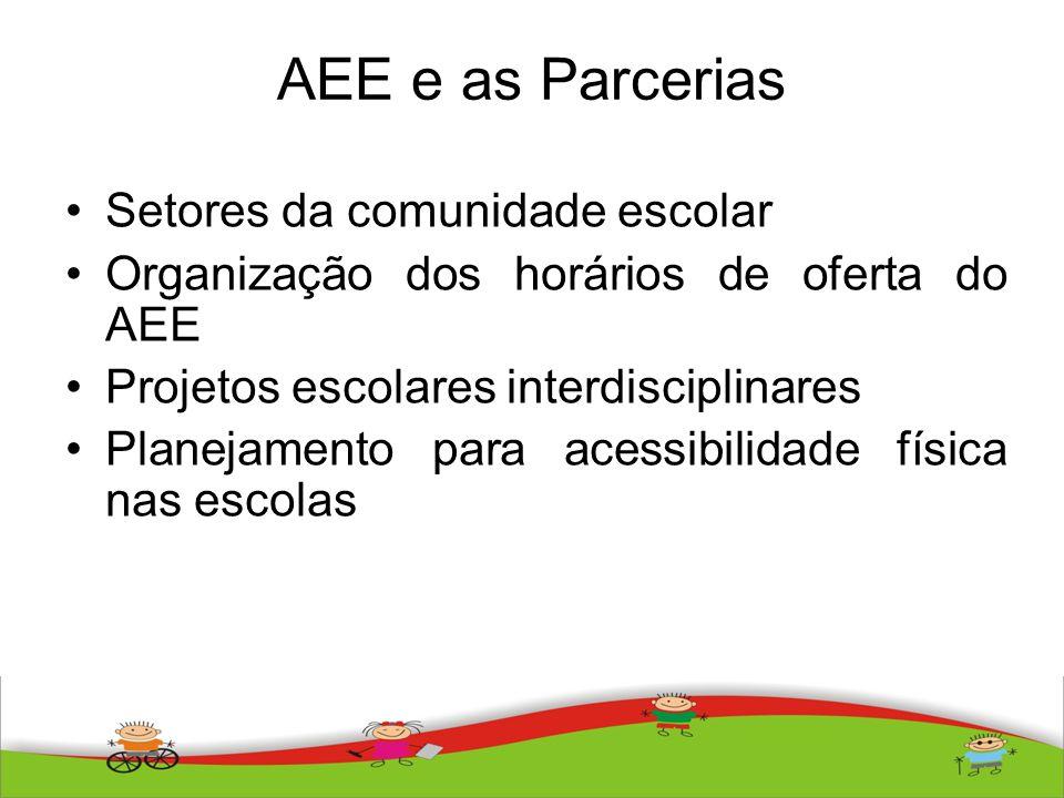 AEE e as Parcerias Setores da comunidade escolar Organização dos horários de oferta do AEE Projetos escolares interdisciplinares Planejamento para ace
