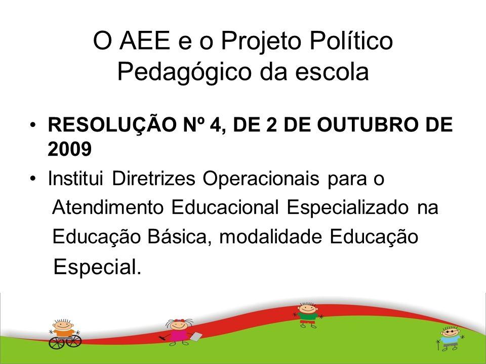 O AEE e o Projeto Político Pedagógico da escola RESOLUÇÃO Nº 4, DE 2 DE OUTUBRO DE 2009 Institui Diretrizes Operacionais para o Atendimento Educaciona