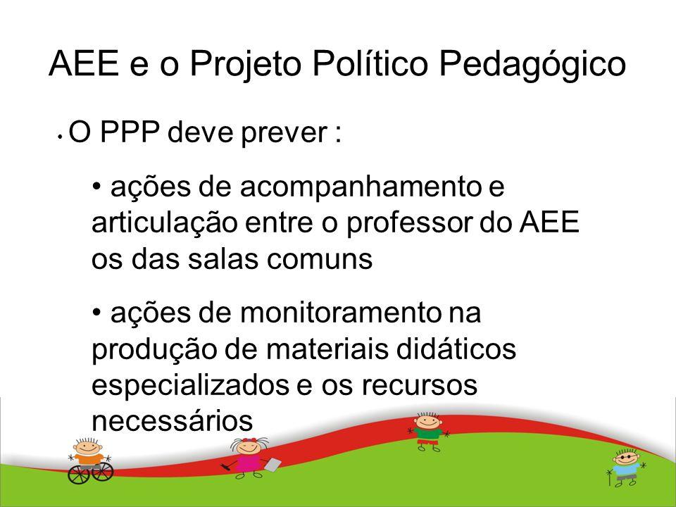 AEE e o Projeto Político Pedagógico O PPP deve prever : ações de acompanhamento e articulação entre o professor do AEE os das salas comuns ações de mo