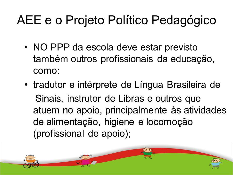 AEE e o Projeto Político Pedagógico NO PPP da escola deve estar previsto também outros profissionais da educação, como: tradutor e intérprete de Língu