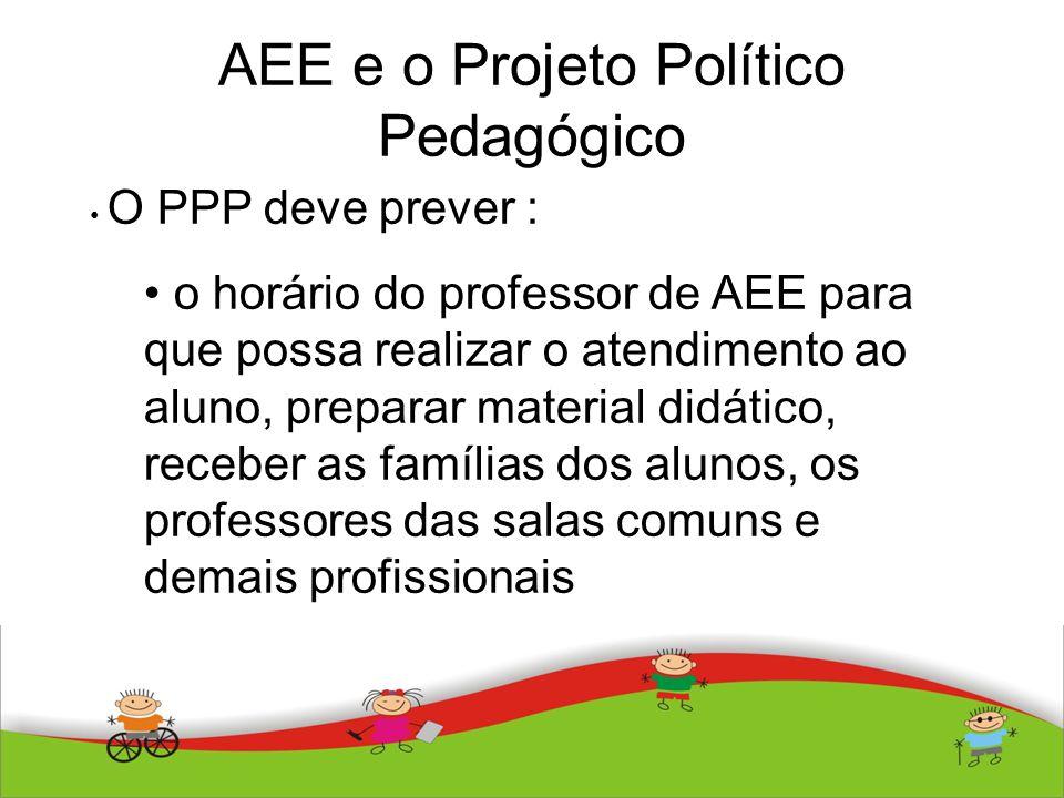 AEE e o Projeto Político Pedagógico O PPP deve prever : o horário do professor de AEE para que possa realizar o atendimento ao aluno, preparar materia