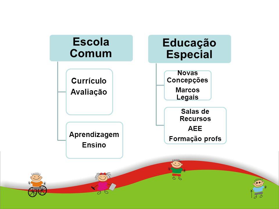 Escola Comum Currículo Avaliação Aprendizagem Ensino Educação Especial Novas Concepções Marcos Legais Salas de Recursos AEE Formação profs