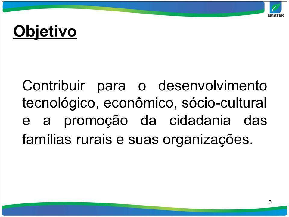 3 Objetivo Contribuir para o desenvolvimento tecnológico, econômico, sócio-cultural e a promoção da cidadania das famílias rurais e suas organizações.
