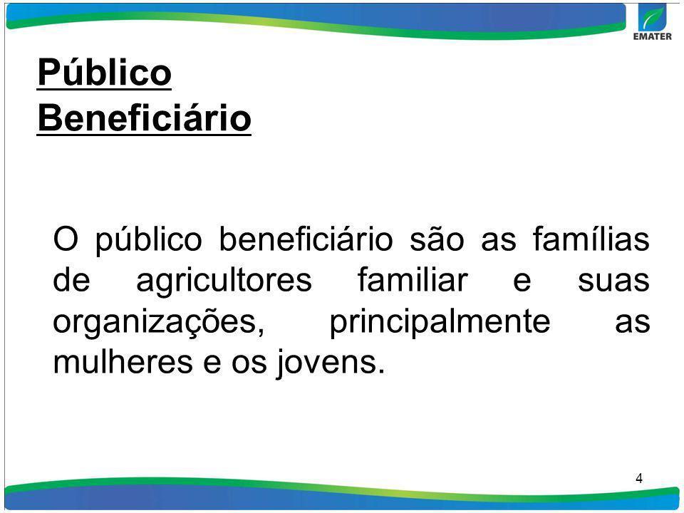 4 Público Beneficiário O público beneficiário são as famílias de agricultores familiar e suas organizações, principalmente as mulheres e os jovens.