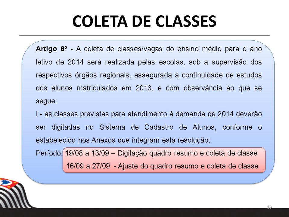 18 COLETA DE CLASSES Artigo 6º - A coleta de classes/vagas do ensino médio para o ano letivo de 2014 será realizada pelas escolas, sob a supervisão do
