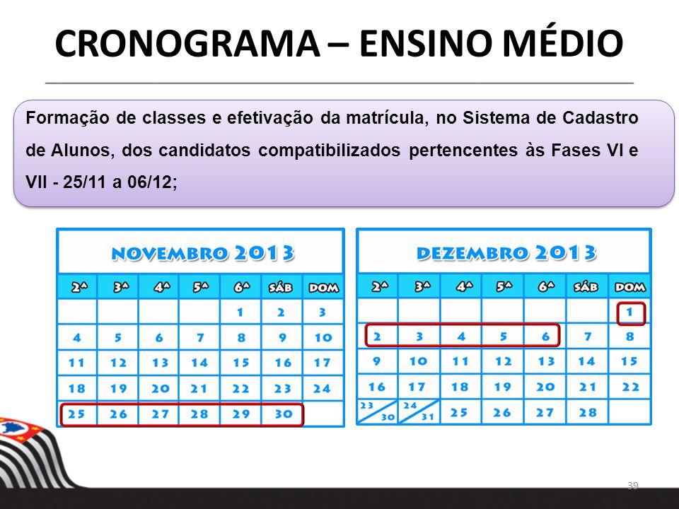 39 CRONOGRAMA – ENSINO MÉDIO Formação de classes e efetivação da matrícula, no Sistema de Cadastro de Alunos, dos candidatos compatibilizados pertence