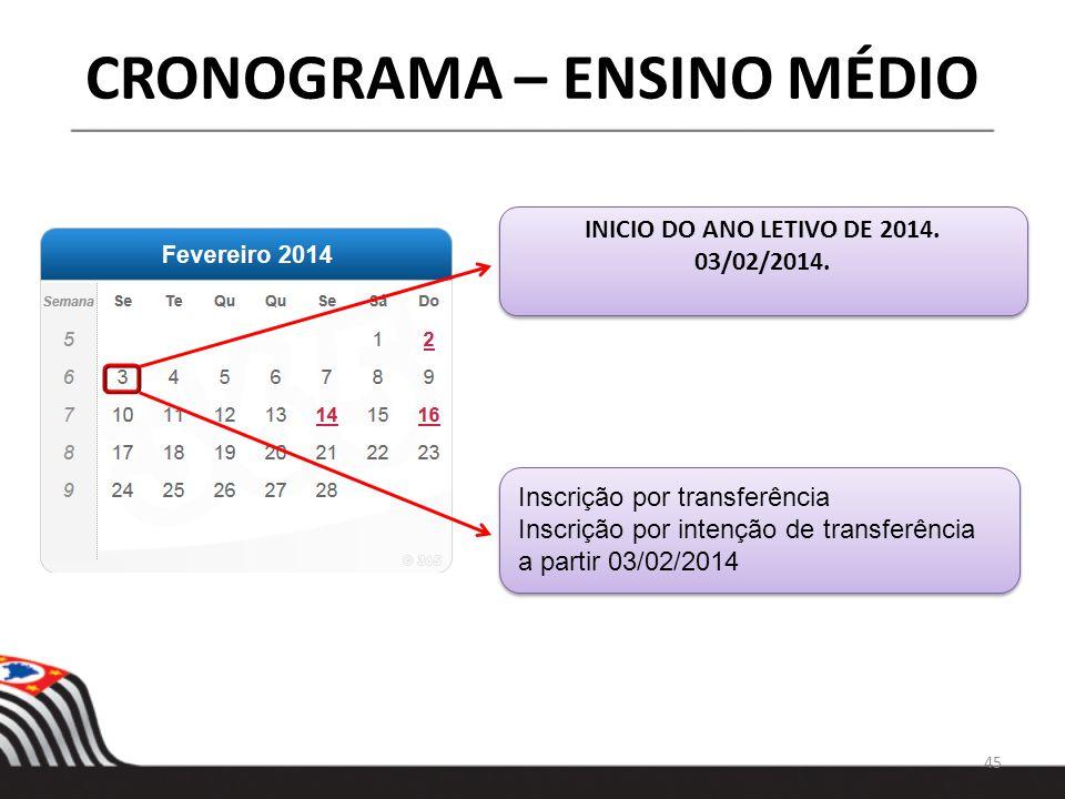 45 CRONOGRAMA – ENSINO MÉDIO INICIO DO ANO LETIVO DE 2014. 03/02/2014. INICIO DO ANO LETIVO DE 2014. 03/02/2014. Inscrição por transferência Inscrição
