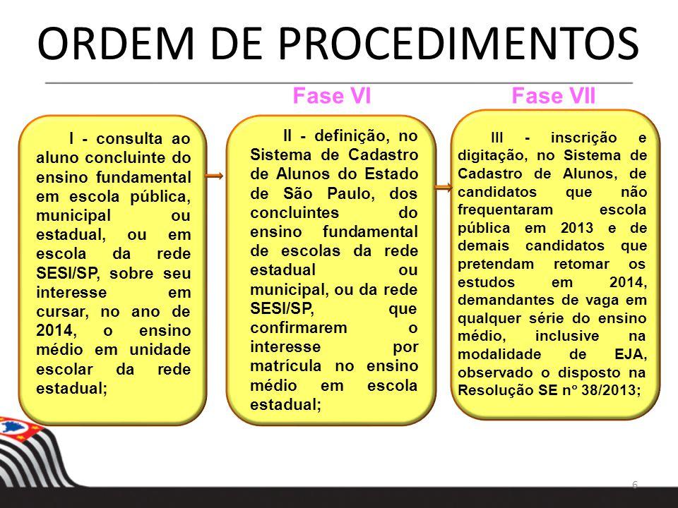 6 ORDEM DE PROCEDIMENTOS I - consulta ao aluno concluinte do ensino fundamental em escola pública, municipal ou estadual, ou em escola da rede SESI/SP
