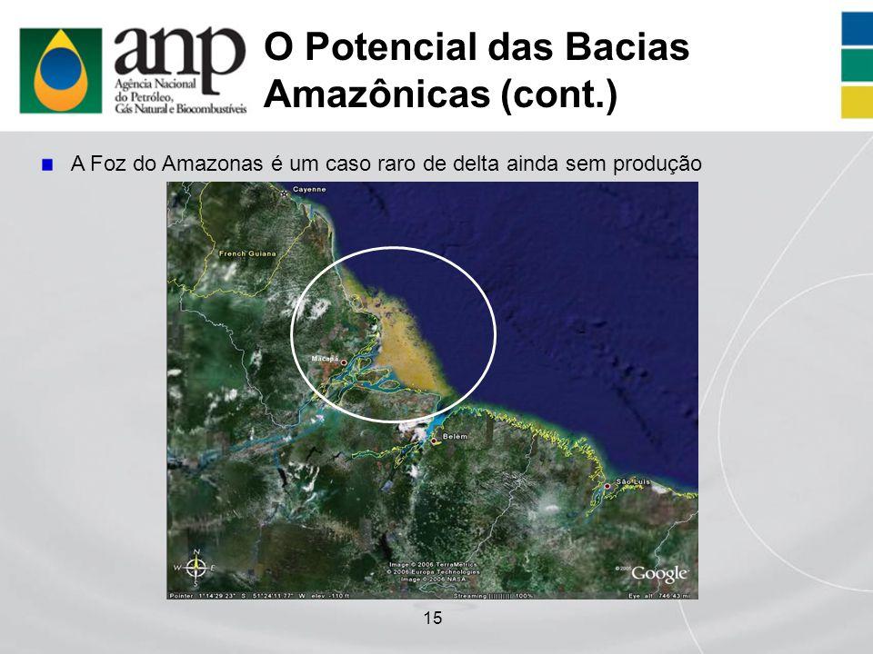 15 O Potencial das Bacias Amazônicas (cont.) A Foz do Amazonas é um caso raro de delta ainda sem produção