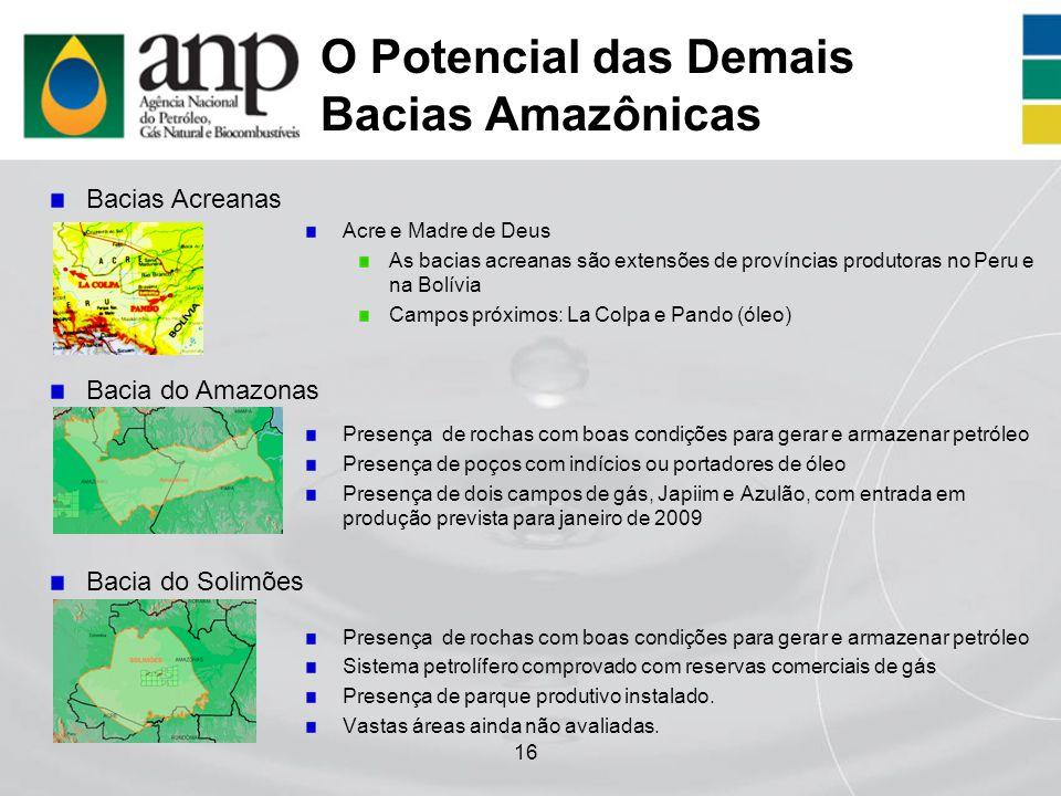 16 O Potencial das Demais Bacias Amazônicas Acre e Madre de Deus As bacias acreanas são extensões de províncias produtoras no Peru e na Bolívia Campos
