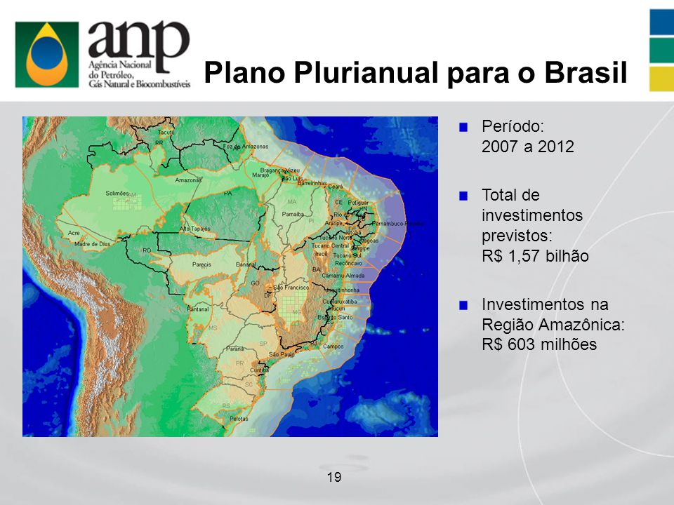 19 Plano Plurianual para o Brasil Período: 2007 a 2012 Total de investimentos previstos: R$ 1,57 bilhão Investimentos na Região Amazônica: R$ 603 milh
