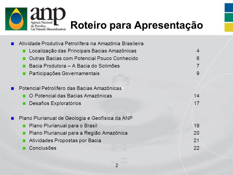 2 Roteiro para Apresentação Atividade Produtiva Petrolífera na Amazônia Brasileira Localização das Principais Bacias Amazônicas4 Outras Bacias com Pot