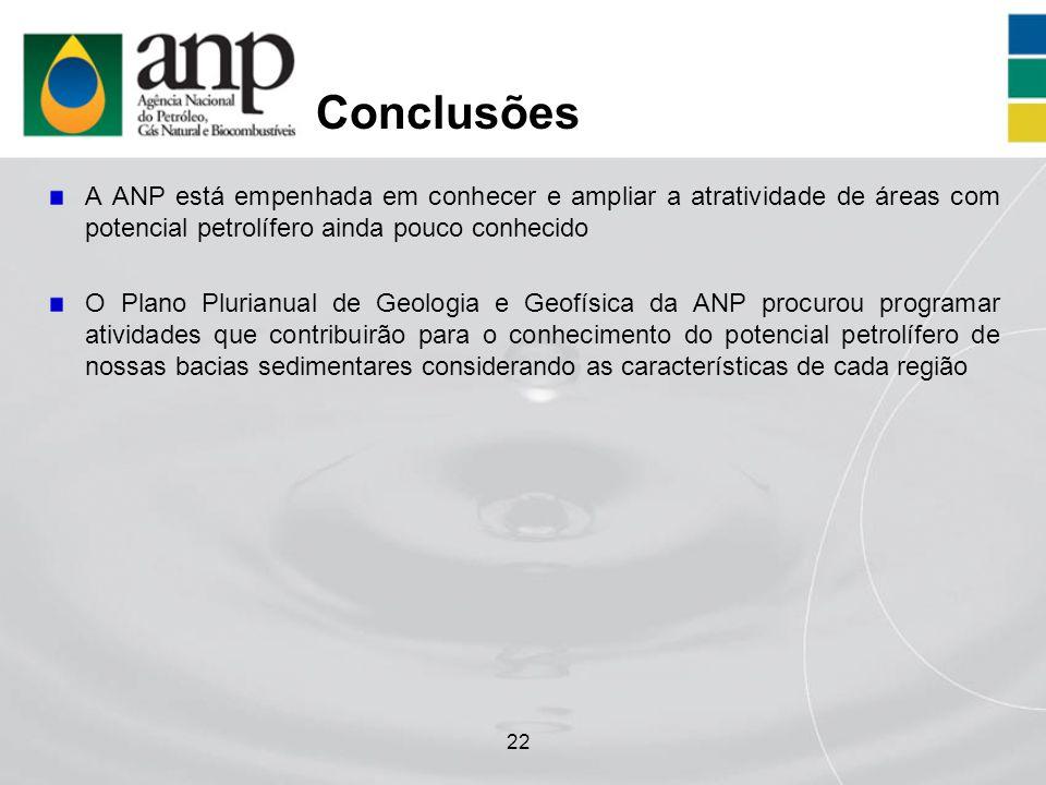 22 Conclusões A ANP está empenhada em conhecer e ampliar a atratividade de áreas com potencial petrolífero ainda pouco conhecido O Plano Plurianual de