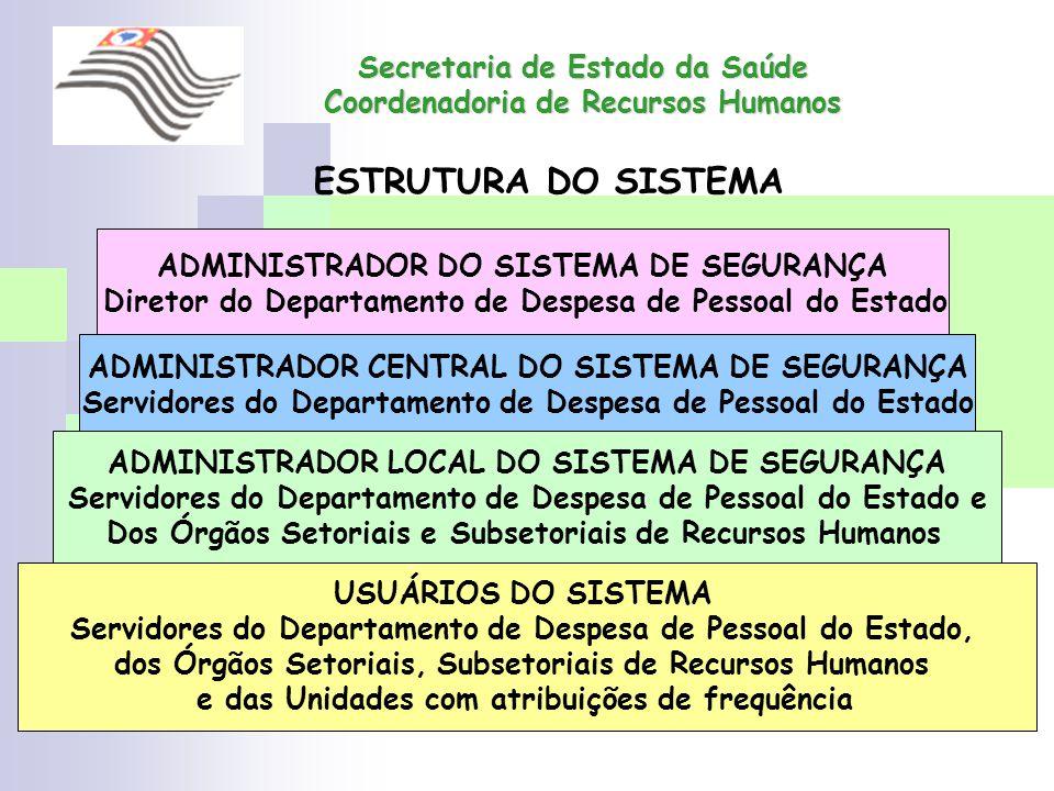 Secretaria de Estado da Saúde Coordenadoria de Recursos Humanos ADMINISTRADOR DO SISTEMA DE SEGURANÇA Diretor do Departamento de Despesa de Pessoal do