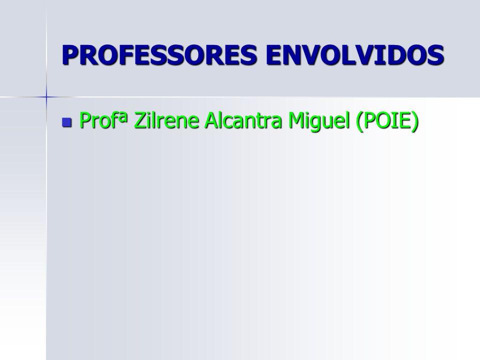 PROFESSORES ENVOLVIDOS Profª Zilrene Alcantra Miguel (POIE) Profª Zilrene Alcantra Miguel (POIE)