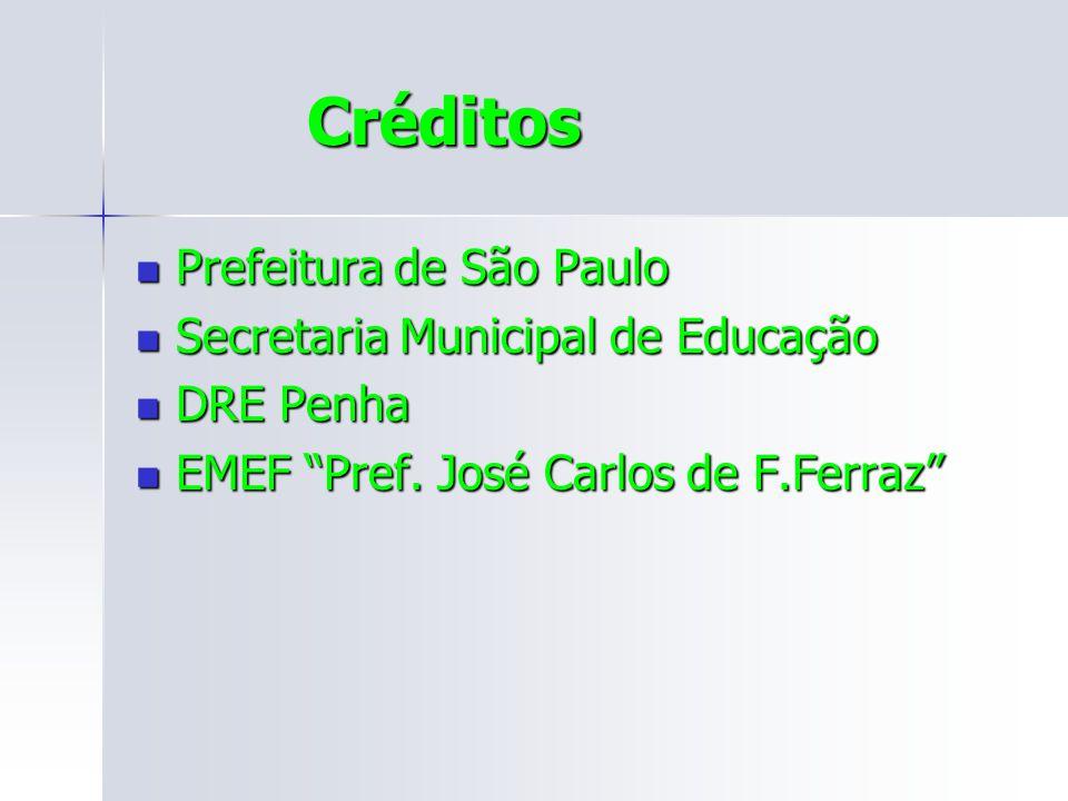 Créditos Créditos Prefeitura de São Paulo Prefeitura de São Paulo Secretaria Municipal de Educação Secretaria Municipal de Educação DRE Penha DRE Penha EMEF Pref.
