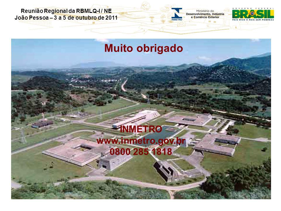 Reunião Regional da RBMLQ-I / NE João Pessoa – 3 a 5 de outubro de 2011 Muito obrigado INMETRO www.inmetro.gov.br 0800 285 1818
