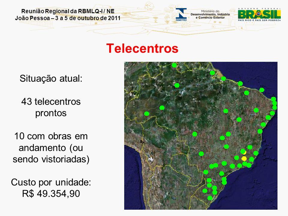 Reunião Regional da RBMLQ-I / NE João Pessoa – 3 a 5 de outubro de 2011 Situação atual: 43 telecentros prontos 10 com obras em andamento (ou sendo vis