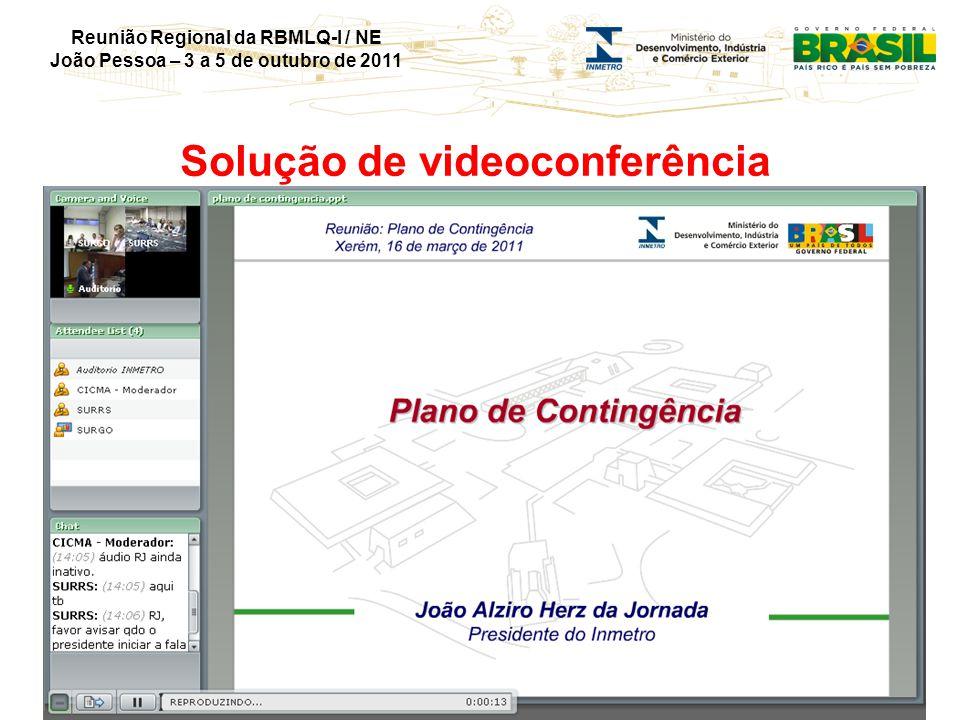 Reunião Regional da RBMLQ-I / NE João Pessoa – 3 a 5 de outubro de 2011 Solução de videoconferência