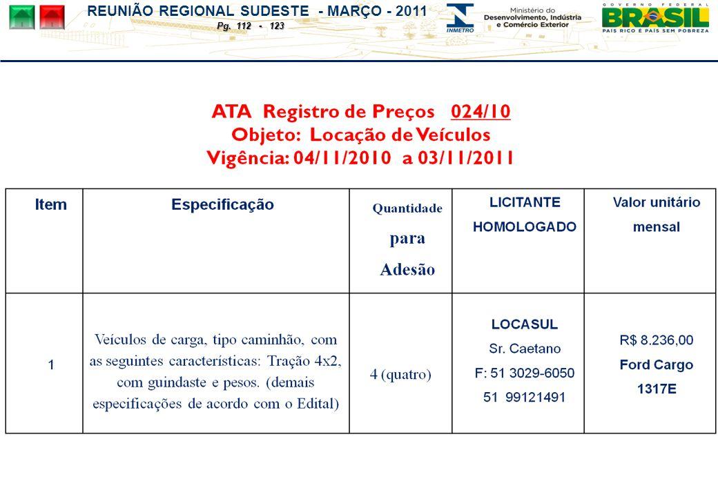 REUNIÃO REGIONAL SUDESTE - MARÇO - 2011 Pg. 112 - 123
