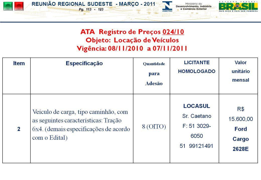REUNIÃO REGIONAL SUDESTE - MARÇO - 2011 Pg. 113 - 123
