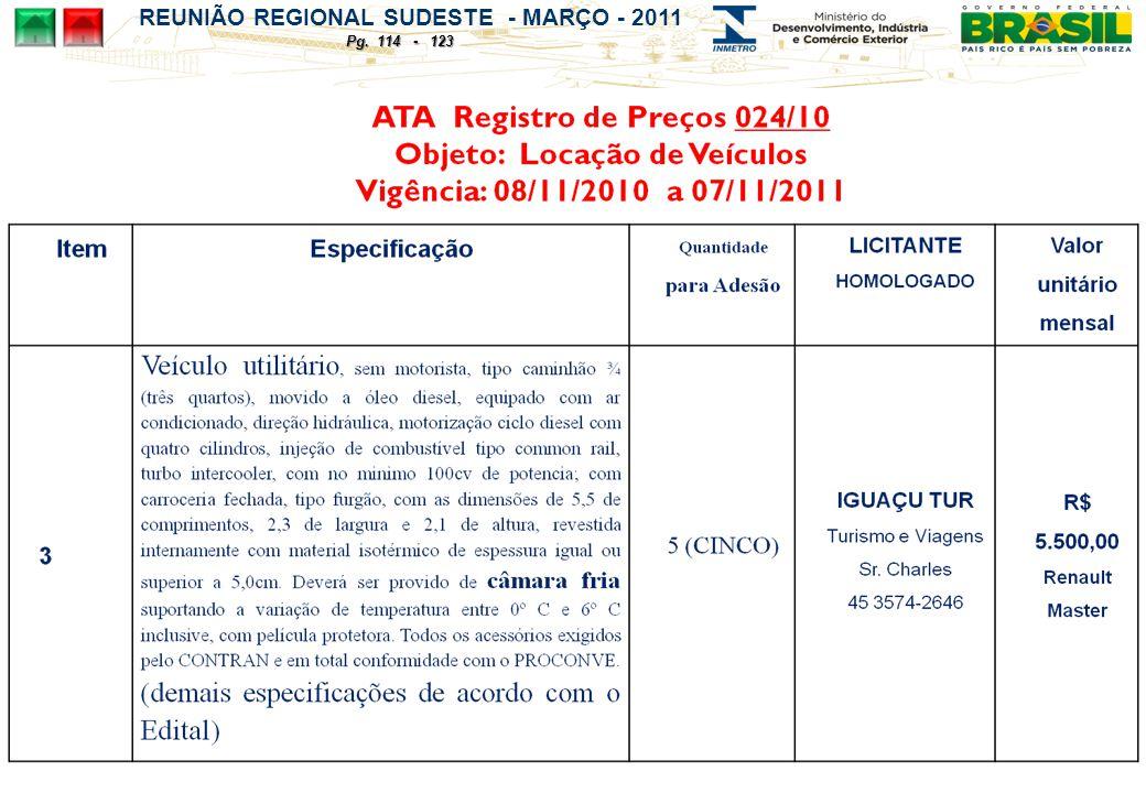 REUNIÃO REGIONAL SUDESTE - MARÇO - 2011 Pg. 114 - 123