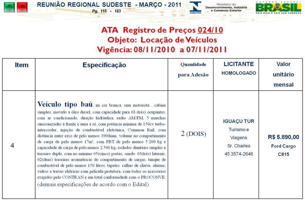 REUNIÃO REGIONAL SUDESTE - MARÇO - 2011 Pg. 115 - 123