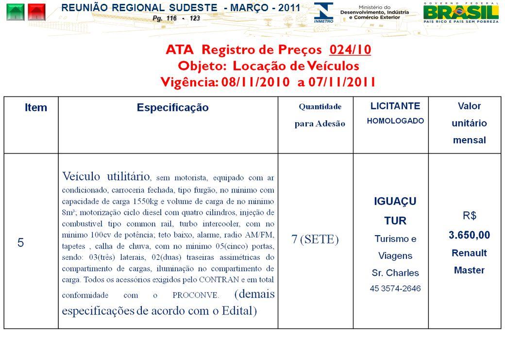 REUNIÃO REGIONAL SUDESTE - MARÇO - 2011 Pg. 116 - 123