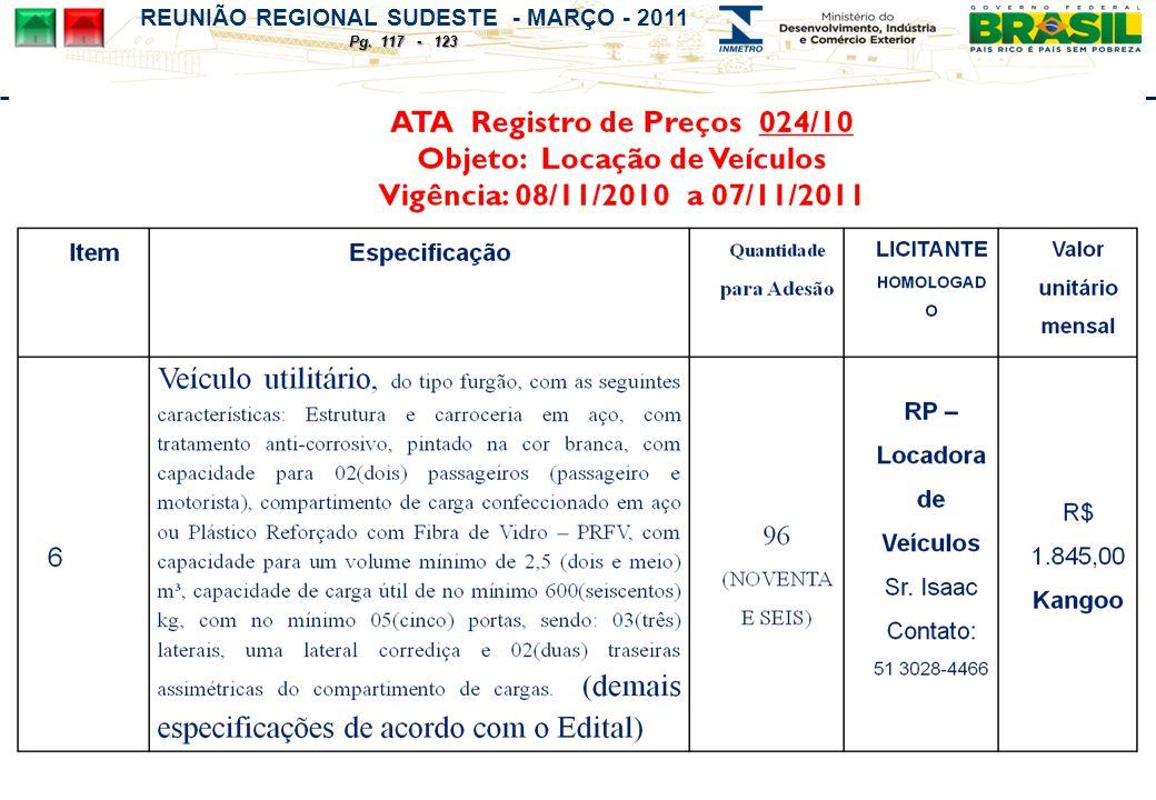 REUNIÃO REGIONAL SUDESTE - MARÇO - 2011 Pg. 117 - 123