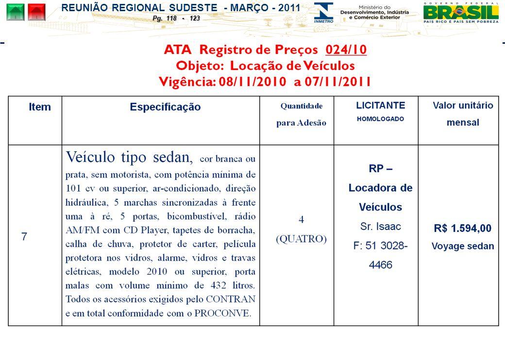 REUNIÃO REGIONAL SUDESTE - MARÇO - 2011 Pg. 118 - 123