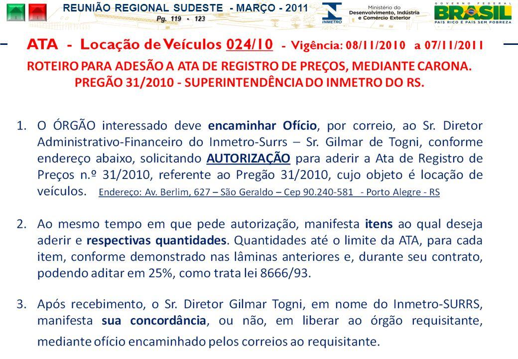 REUNIÃO REGIONAL SUDESTE - MARÇO - 2011 Pg. 119 - 123