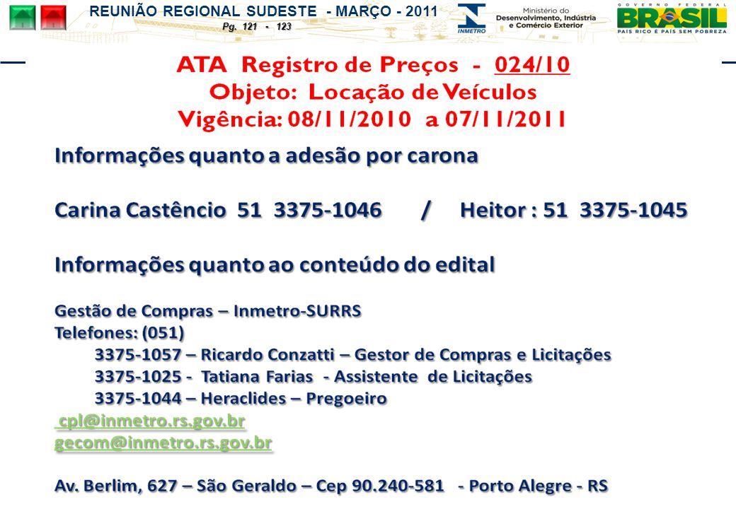 REUNIÃO REGIONAL SUDESTE - MARÇO - 2011 Pg. 121 - 123