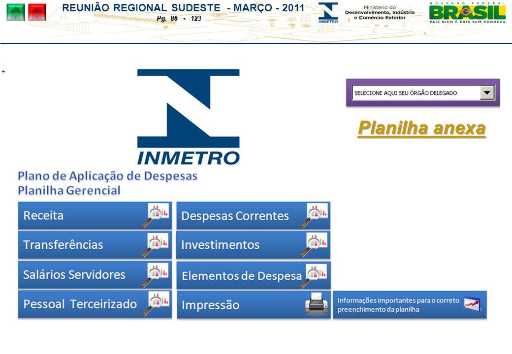 REUNIÃO REGIONAL SUDESTE - MARÇO - 2011 Pg. 86 - 123 Planilha anexa Planilha anexa