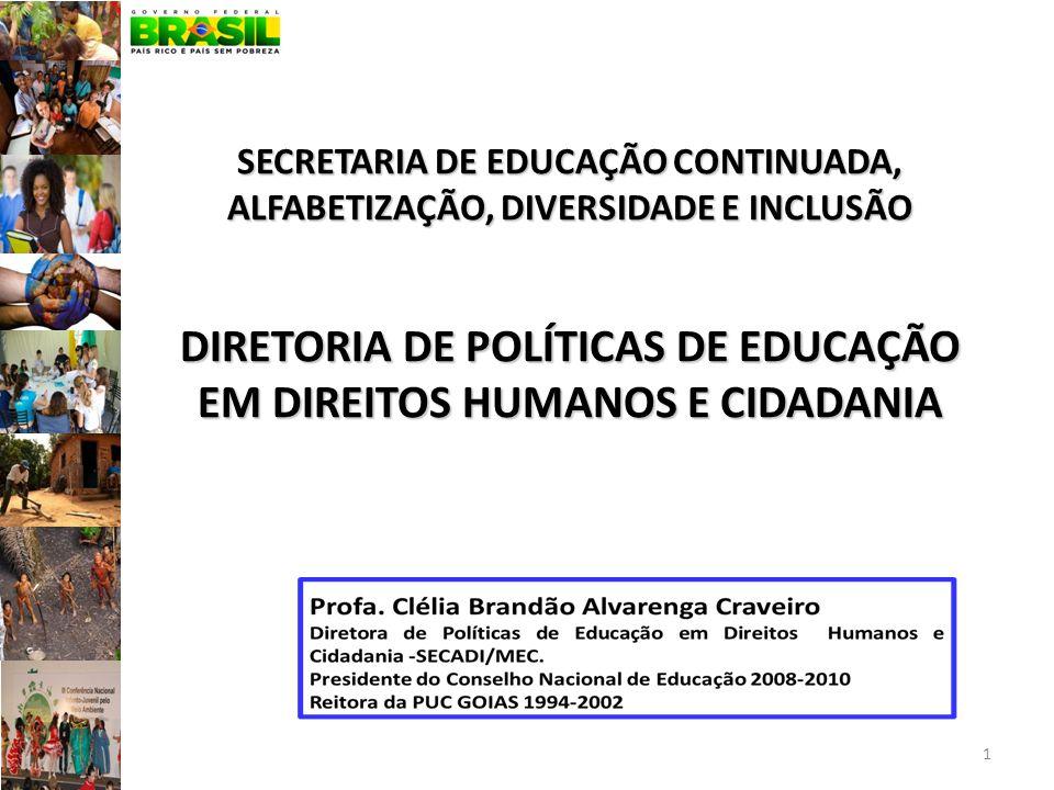SECRETARIA DE EDUCAÇÃO CONTINUADA, ALFABETIZAÇÃO, DIVERSIDADE E INCLUSÃO DIRETORIA DE POLÍTICAS DE EDUCAÇÃO EM DIREITOS HUMANOS E CIDADANIA 1