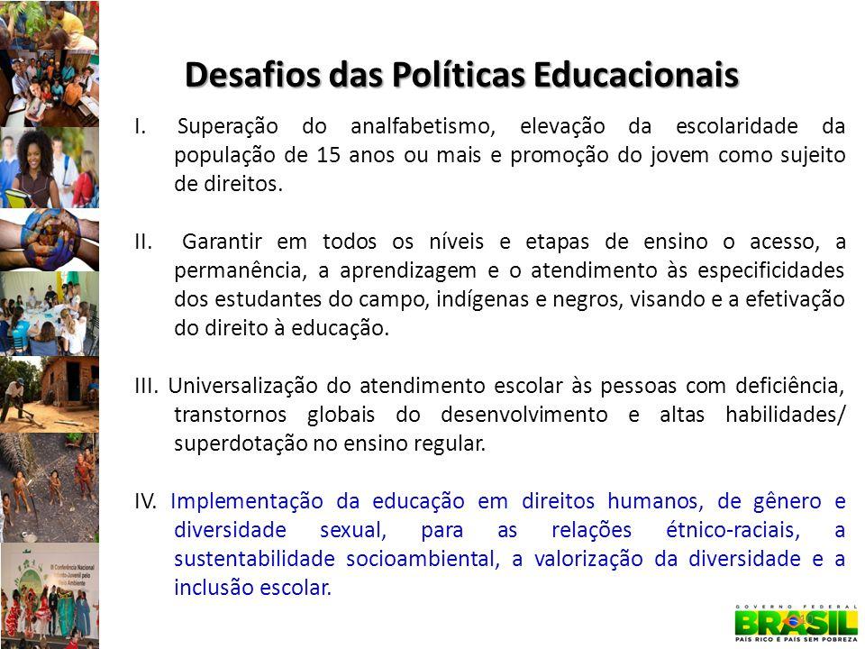 I.Superação do analfabetismo, elevação da escolaridade da população de 15 anos ou mais e promoção do jovem como sujeito de direitos. II. Garantir em t