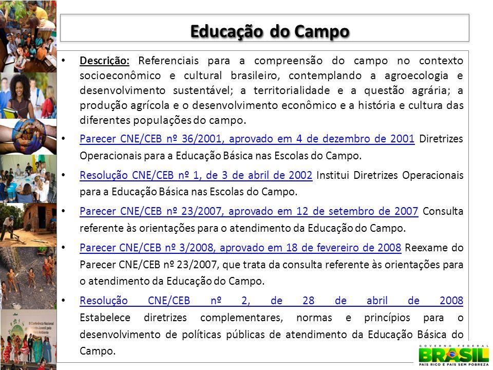 Descrição: Referenciais para a compreensão do campo no contexto socioeconômico e cultural brasileiro, contemplando a agroecologia e desenvolvimento su