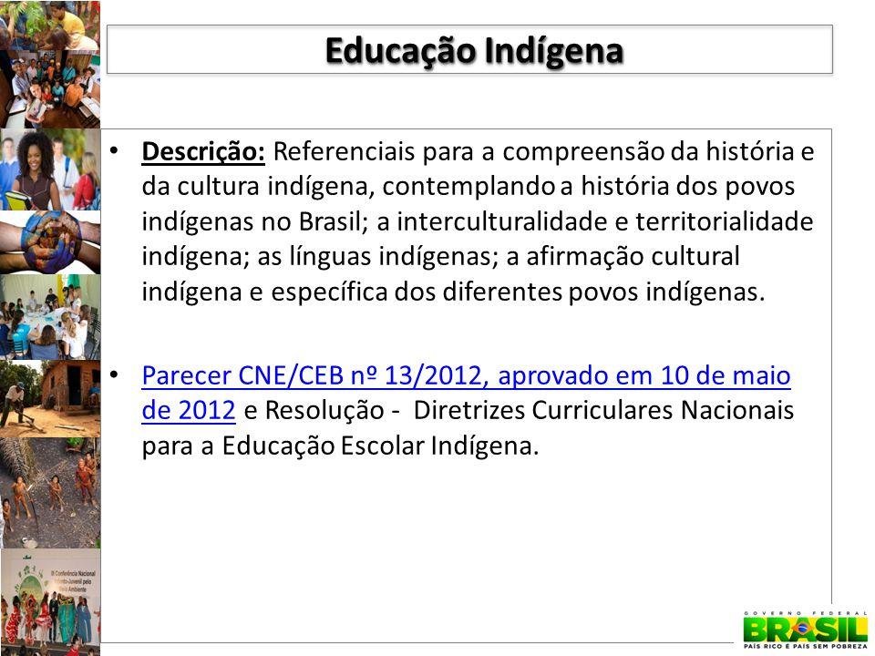 Descrição: Referenciais para a compreensão da história e da cultura indígena, contemplando a história dos povos indígenas no Brasil; a interculturalidade e territorialidade indígena; as línguas indígenas; a afirmação cultural indígena e específica dos diferentes povos indígenas.