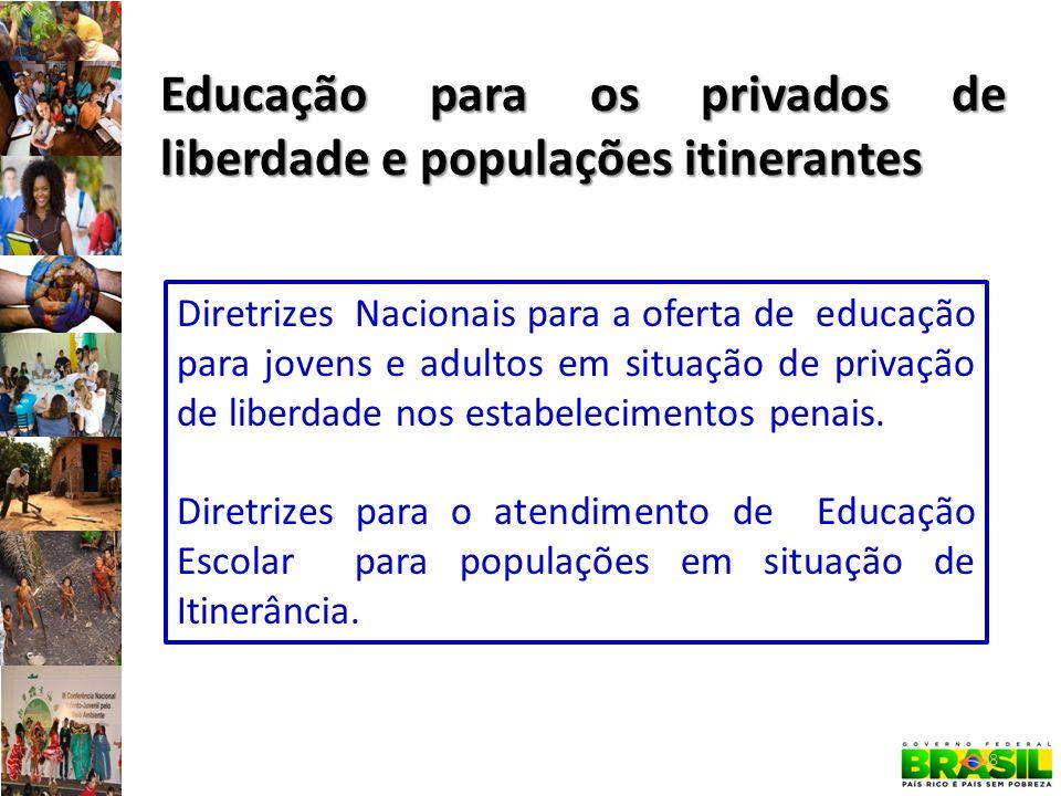 28 Educação para os privados de liberdade e populações itinerantes Diretrizes Nacionais para a oferta de educação para jovens e adultos em situação de privação de liberdade nos estabelecimentos penais.