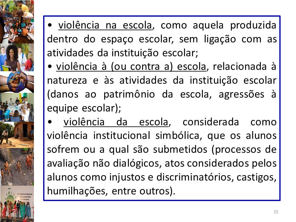 35 violência na escola, como aquela produzida dentro do espaço escolar, sem ligação com as atividades da instituição escolar; violência à (ou contra a