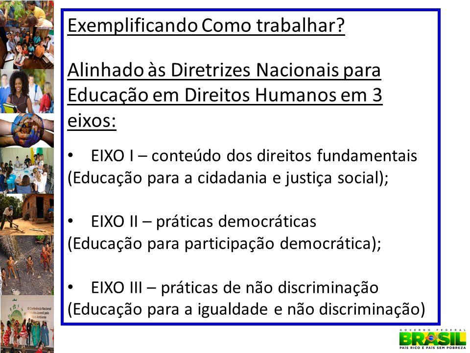 Exemplificando Como trabalhar? Alinhado às Diretrizes Nacionais para Educação em Direitos Humanos em 3 eixos: EIXO I – conteúdo dos direitos fundament