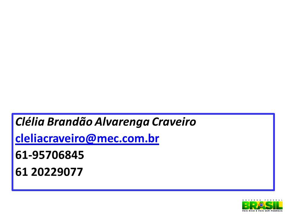 Clélia Brandão Alvarenga Craveiro cleliacraveiro@mec.com.br 61-95706845 61 20229077 45