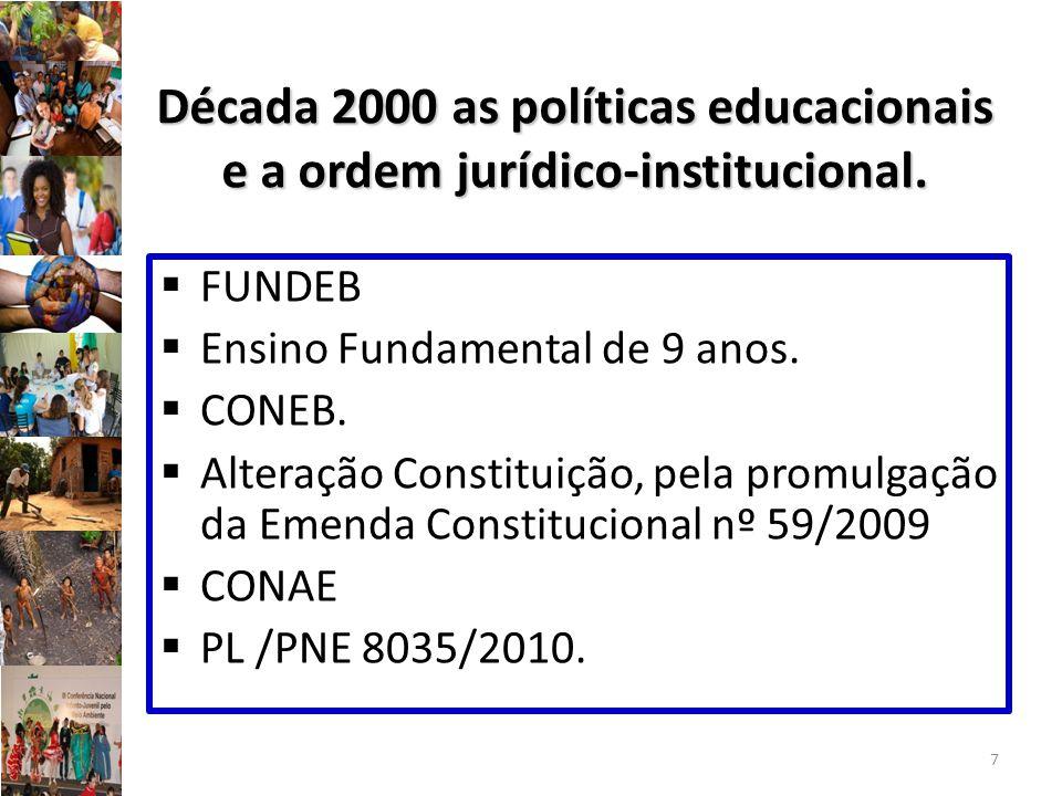 Década 2000 as políticas educacionais e a ordem jurídico-institucional. FUNDEB Ensino Fundamental de 9 anos. CONEB. Alteração Constituição, pela promu