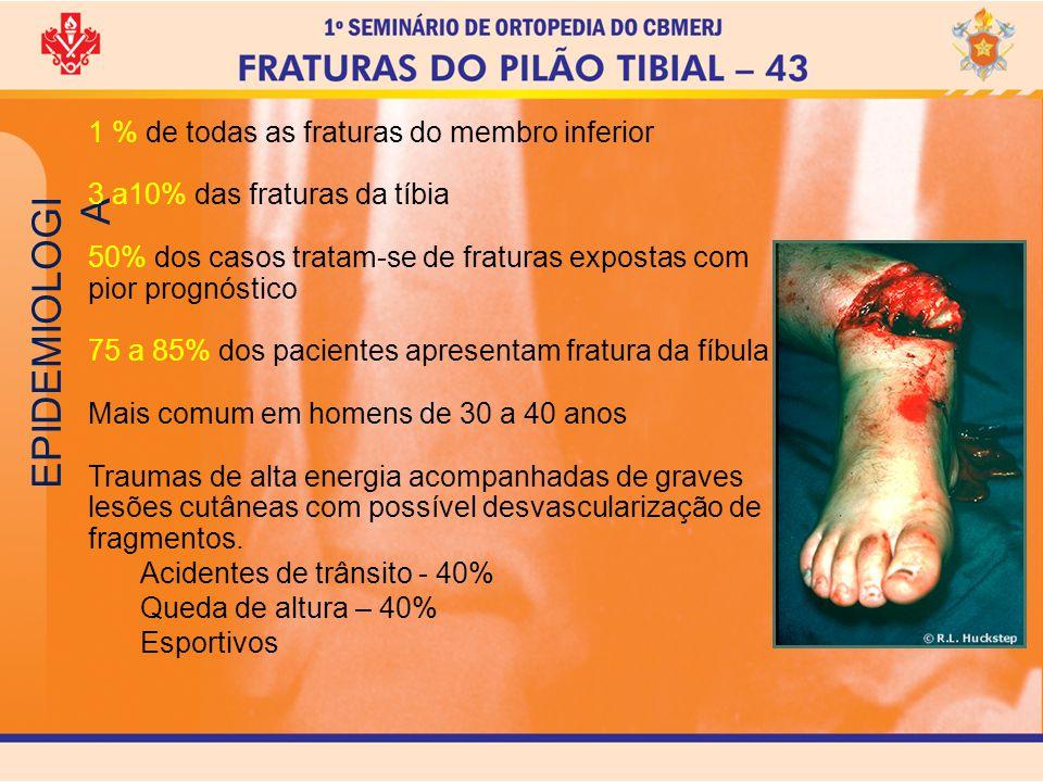 EPIDEMIOLOGI A 1 % de todas as fraturas do membro inferior 3 a10% das fraturas da tíbia 50% dos casos tratam-se de fraturas expostas com pior prognóst
