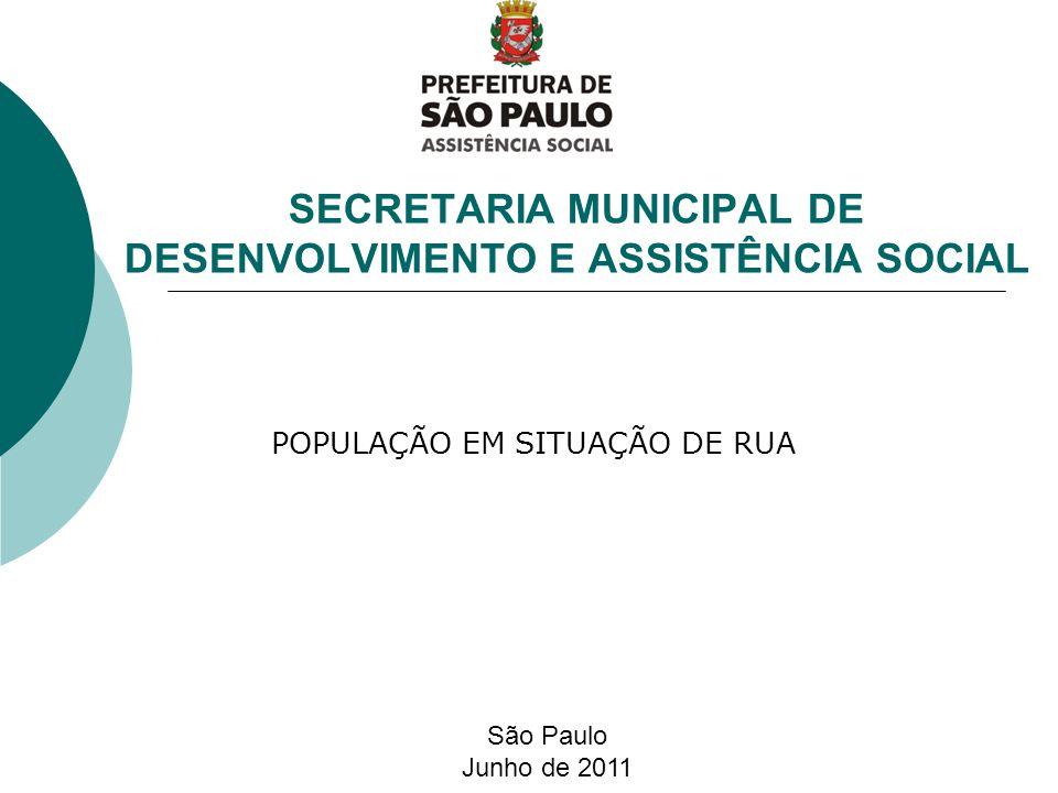 SECRETARIA MUNICIPAL DE DESENVOLVIMENTO E ASSISTÊNCIA SOCIAL São Paulo Junho de 2011 POPULAÇÃO EM SITUAÇÃO DE RUA