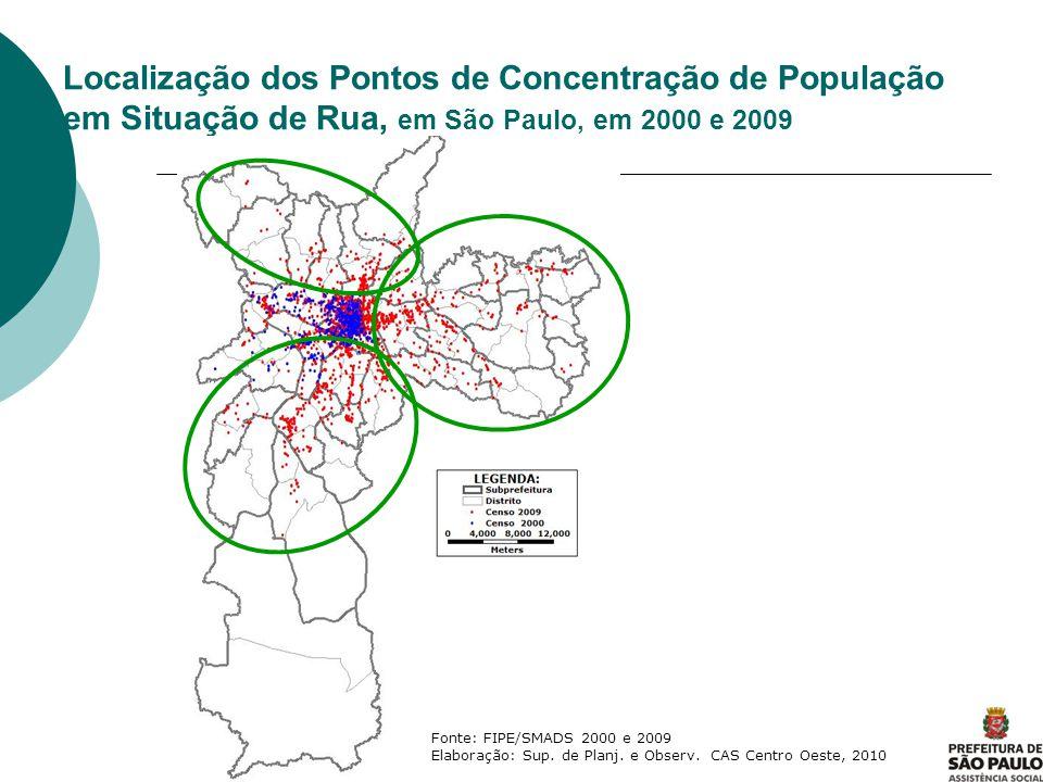 Localização dos Pontos de Concentração de População em Situação de Rua, em São Paulo, em 2000 e 2009 Fonte: FIPE/SMADS 2000 e 2009 Elaboração: Sup. de